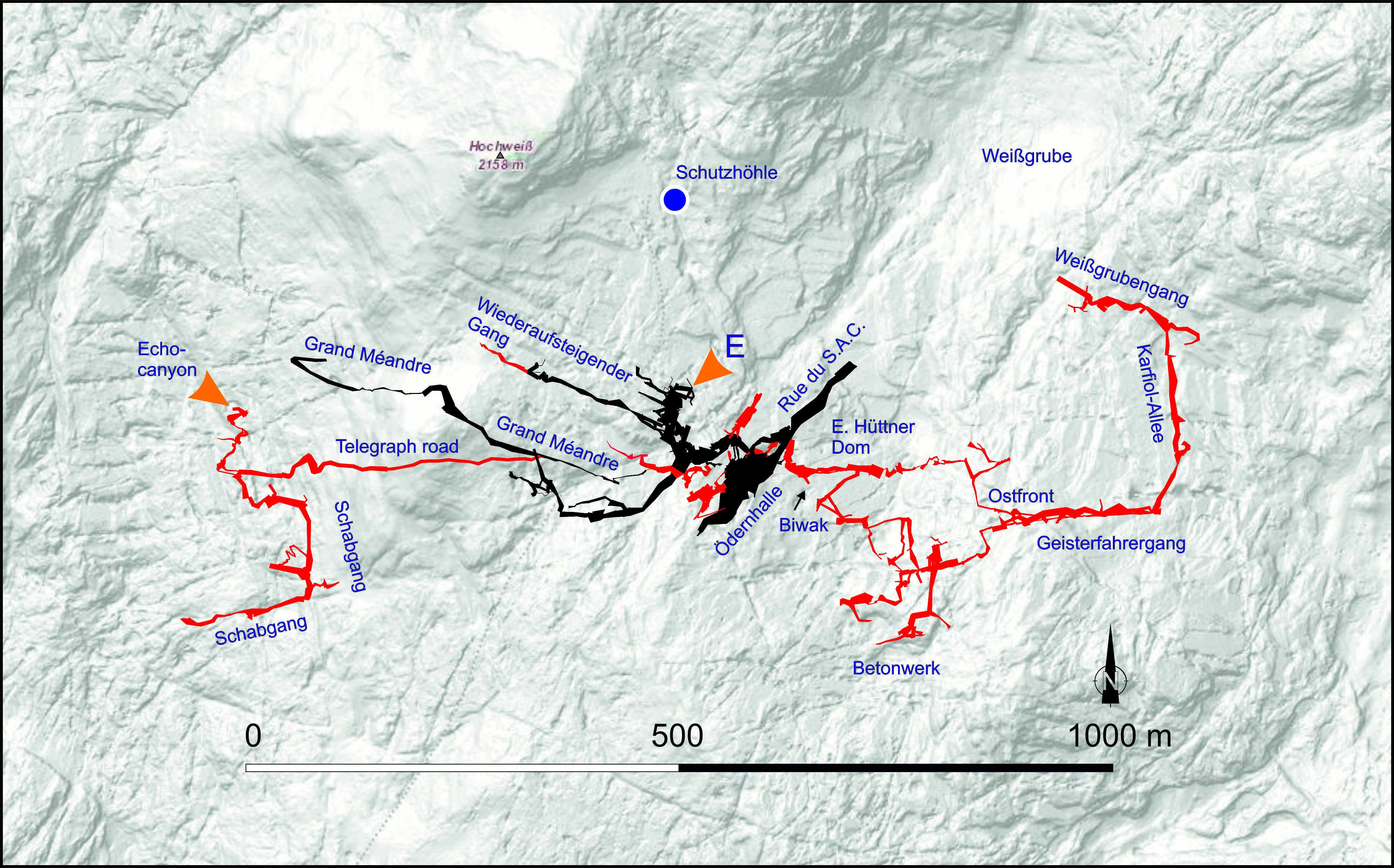 Übersichtsgrundriss der Wildbaderhöhle. Die in roter Farbe dargestellten Höhlenteile wurden im Zuge der neuen Forschungen entdeckt. Die in schwarz dargestellten Teile waren bereits vorher bekannt, aber teilweise noch nicht vermessen.